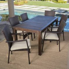 This Avenir Outdoor Wood Wicker 7 Piece Dining Set with Cushions combines the functionality of wood and iron with the comfort of wicker. Complete with a table, and 6 wicker dining chairs, this set off Glass Dining Set, Wicker Dining Chairs, 7 Piece Dining Set, Dining Sets, Painting Wooden Furniture, Rustic Furniture, Outdoor Furniture Sets, Antique Furniture, Furniture Ideas