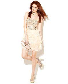 Rampage Juniors Dress, Strapless Sequin Feather Mini - Juniors Prom Dresses - Macys