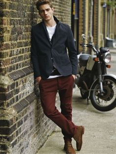 bordeaux trousers and brown shoes