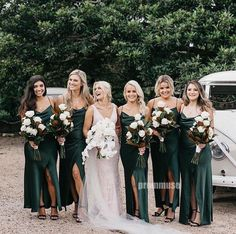 Dark Green Bridesmaid Dresses,Spaghetti Straps Long Bridesmaid Dresses,Sexy Slit Bridesmaid Dresses,Wedding Party Dresses - Welcome My Home Green Wedding Dresses, Wedding Bridesmaid Dresses, Emerald Green Bridesmaid Dresses, Emerald Green Weddings, Winter Wedding Bridesmaids, Different Bridesmaid Dresses, Summer Wedding, Emerald Wedding Colors, Mint Green Bridesmaids
