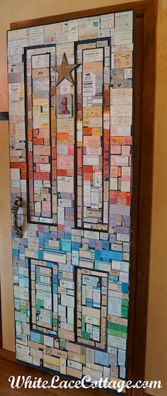 I love the idea of preserving ticket stubs on a door (from White Lace Cottage)