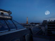 Evening Moon Eiffel Tower, Paris France Fine Art Print, Parisian Photo, Wall Art, Home Decor, Photography, Gifts under 25