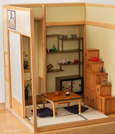 https://flic.kr/p/ma1rzi | Japanese style miniature room | Side of the room. Shoji screens move, or can be removed completely if I need to. The shelf is also removable for when I want to change it around, which is why it is free standing instead of attached to the wall.