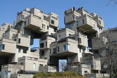 Habitat 67 is a housing complex and landmark located in Montreal, Canada. Its design was created by architect Moshe Safdie, based on his master's thesis at McGill University and built as part of Expo 67. The building was supposed to illustrate the new lifestyle people would live in increasingly crowded cities around the world. Photo by Ryan Dickey