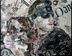 Stoney, Music and Motorcyles 24x30, torn paper collage by Nancy Standlee.