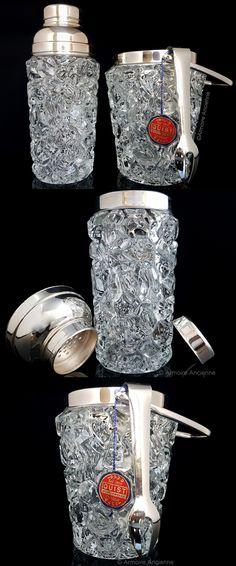 BUY on ETSY: Vintage Molded Glass Cocktail Shaker & Ice Bucket Set, Cocktail Set, Martini Shaker, Ice Holder / Mid Century Barware, Bar Tools, Bar Cart