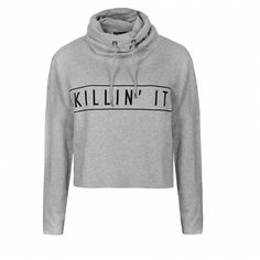 Ally Fashion Cowl neck graphic hoodie found on Polyvore featuring tops, hoodies, sweaters, outerwear, shirts, sweat shirts, cowl neck sweatshirt, graphic crop tops, graphic long sleeve shirts and sweatshirts hoodies