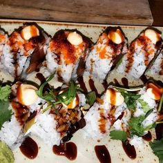 """Cali press and silk road @nuburgersushibar #sushi #rolls #foodgasm #foodporn #food #foodie #delicious #yyceats #calgary"""