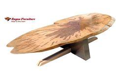 COFFEE TABLE STEEL MAPLE WALNUT OVAL SOLID WOOD GARRY ZAYON MID CENTURY MODERN