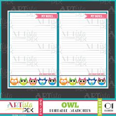 Owl Note Pad Printable Note Pad Animal Note Pad Memo Pad