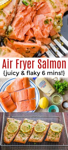Air Fryer Salmon comes out juicy flaky and tender so fast Making salmon in the Air Fryer is the fastest and easiest way to make this healthy salmon recipe airfryer airfryerrecipes airfryersalmon salmonrecipes natashaskitchen Air Fryer Recipes Salmon, Air Fryer Oven Recipes, Air Fryer Dinner Recipes, Healthy Salmon Recipes, Baby Recipes Salmon, Salmon In Air Fryer, Sushi Recipes, Cooks Air Fryer, Air Frier Recipes