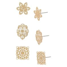Women's Trio Stamped Earring with Filigree Studs - Gold