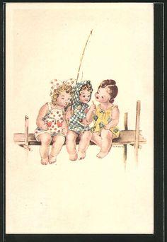 Künstler-AK Hilla Peyk: Mädchen sitzen mit einer Angelrute auf einem Steg 0