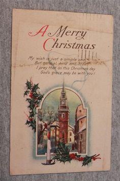 Vintage Postcard A Merry Christmas Post Mark 1922 Series 756 C