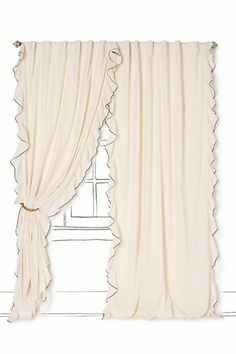 Airy Flounce Curtain - for living room window Home Curtains, Curtains With Blinds, Cream Curtains, Blackout Curtains, Pink Ruffle Curtains, Ruffles, Little Girl Rooms, Dream Bedroom, Master Bedroom