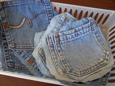 Saving old jean pockets for crafts