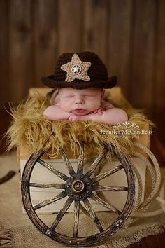 Crochet Newborn Cowboy Hat - Photo Prop, cowboy hat, cowboy on Etsy