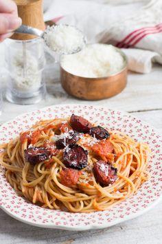 Chic, chic, chocolat...: Spaghetti au chorizo, sauce au poivron
