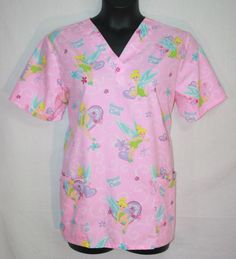 Women's Disney Pink Tinkerbell Sweet Tink Scrub Top Large Short Sleeve