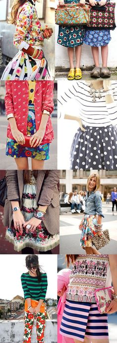 MIX those prints! alisaburke: fashion friday pattern mixing - love the coat and the the striped floral dress Fashion Mode, Fashion Tips, Fashion Design, Fashion Trends, Fall Fashion, Workwear Fashion, Fashion Websites, Petite Fashion, Trendy Fashion