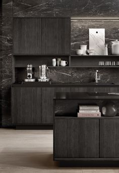 Quality and perfection are the focus of our work. Kitchen Design I Purism I Interior Inspiration I Kitchen Organisation I Black Kitchen Organisation, Black Wood, Black Marble, Küchen Design, Interior Inspiration, Liquor Cabinet, Kitchen Remodel, Minimalist, Pure Products