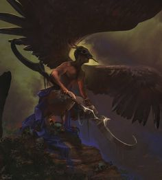 Harpy Creature design, a male harpy because there's got to be male harpies… right? haha Travis M Couch Medieval Fantasy, Dark Fantasy, Fantasy Art, Zooey Deschanel, Skyfall, Fantasy Creatures, Mythical Creatures, Supernatural, Flying Monsters
