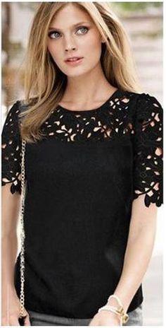 Chiffon Short Sleeve Lace Blouses