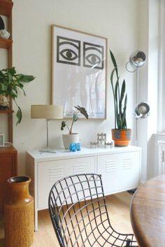 Ideas Apartment Living Room Decor Ikea Cabinets For 2019 Ikea Metal Cabinet, Ikea Lockers, Credenza Decor, Living Room Decor Ikea, Vintage Lockers, Interior Decorating, Interior Design, Decorating Games, Yurts
