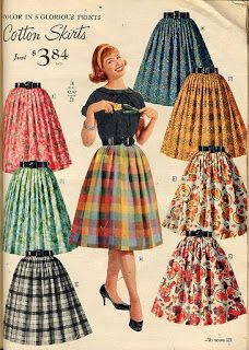 Similar to the poodle skirt, knee-length cotton skirts were very popular for women to wear. showing even more skin than the little bit longer poodle skirt Moda Vintage, Vintage Skirt, Vintage Dresses, Vintage Outfits, Fashion Vintage, 1950 Outfits, Vintage Fashion 1950s, Vintage Clothing, Mode Rockabilly