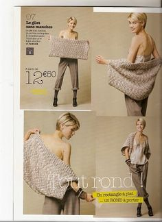 Crochet or Knit a large rectangle and then sew up sides.leave opening for arms: Inspiration!