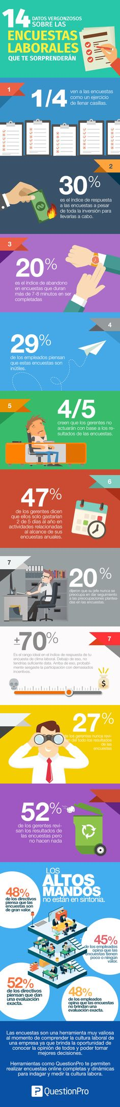 14 datos sobre encuestas laborales que te sorprenderán #infografia