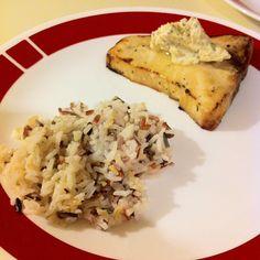 Swordfish w/ orange-basil butter and wild rice #larryskitchen