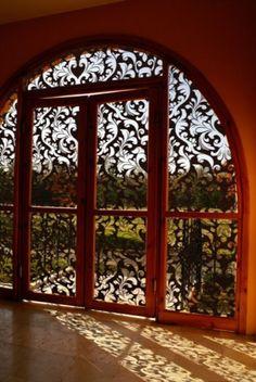 This stunning showpiece doorway with wrought iron detail will take your breath away! Cool Doors, Unique Doors, Interior Exterior, Home Interior, Interior Design, Modern Interior, Decorative Metal Screen, Wrought Iron Doors, Door Gate