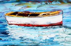 Original ITALY Boats palette knife Oil painting on canvas modern fine art impressionism fine art by Karen Tarlton.