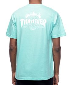 Part of the limited edition HUF x Thrasher Tour De Stoops collaboration collection. Premium short sleeve tagless tee in mint green featuring Thrasher Flame & HUF Worldwide collab logos in white.