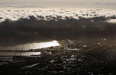Cape Town, South Africa: A general view of the harbour seen from Table Mountain