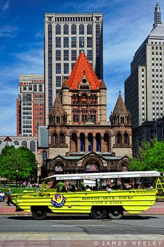 Copley Square, Boston, Massachusetts. The Duck boats are employed for the players to ride in for every Boston sports championship parade.Happily the Red Sox,Bruins and Celtics have ridden in recent years, The Pats have ridden three times but not in ten years.