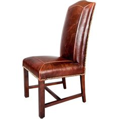 Give your home an air of sophistication with these stylish leather dining chairs. Featuring a hardwood frame, leather upholstery, and hand-applied nail head details, this set of two chairs will add seating space and luxury to your dining room.