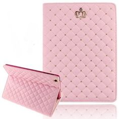 iPad Mini Cases for Teen Girls, Umiko(TM) iPad Mini Cute Crown Bling Luxury Flip PU Leather Rhombus Quilted Smart Case for iPad Mini -Pink Color: Pink Size: iPad Mini 1 2 3 Model: