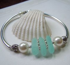 Silver Sea Glass Bracelet with Aqua Beach Glass Jewelry Seaglass Bracelet. $28.50, via Etsy.