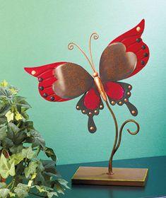 Handpainted Metal Butterfly Sculptures