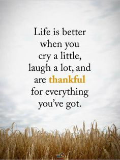 Life is better when you cry a little, laugh a lot, and are thankful for everything you've got.