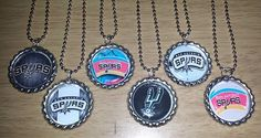 Set of 6 SAN ANTONIO SPURS Flat Bottlecap Necklaces! Fast Shipping!! by OneStopBottlecaps on Etsy