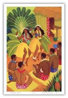 Hula Halau, Hawaii Cruise Line Menu Cover, c.1942 - Vintage Hawaiian Art Poster