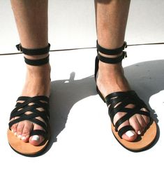 Arachnid Sandals,Black straps,black leather straps, ankle wraps,Greek Handmade sandals,Greek leather,Ancient Greek style,Multi strap sandals Greek Sandals, Black Sandals, Leather Sandals, Natural Tan, Natural Leather, Black Toe, Toe Rings, Ancient Greek, Ankle Straps