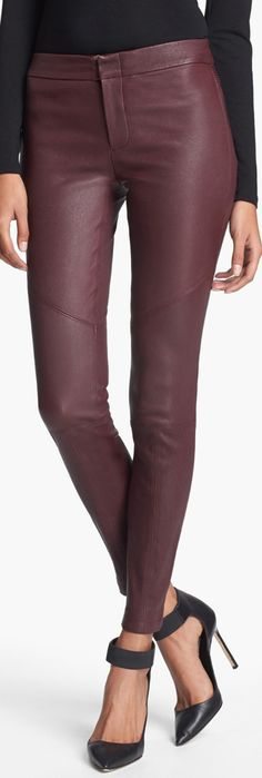 Yigal Azrouël Stretch Leather Leggings from Nordstrom, have these pants!  Need to wear just like this.