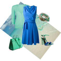 Retro style wrap dress ~Hues of Ocean