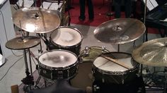 13inch 20inch 21inch Bos Master Vintage with a 24inch Hammer china.  13,16, 20,14 round badge Gretsch drums. paulshawmusic.com
