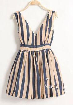 Shop Blue Stripe Dark-V High Waist Tank Dress online. Sheinside offers Blue Stripe Dark-V High Waist Tank Dress & more to fit your fashionable needs. Free Shipping Worldwide!