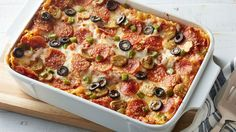 Pizza sauce and pepperoni star in ever-favorite lasagna.